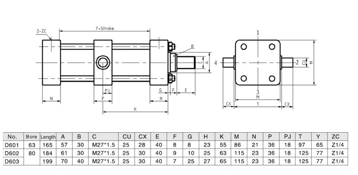 Intermediate Fixed Trunnion Hydraulic Cylinders for Band Saw Machine