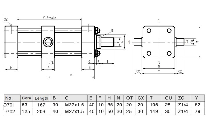 Head Trunnion Hydraulic Cylinders for Band Saw Machine