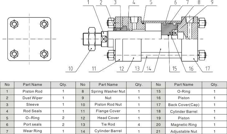 HOB Series Hydraulic Cylinder Construction Drawing
