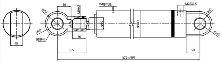 HSG single acting engineering hydraulic cylinder 80mm bore size drawing