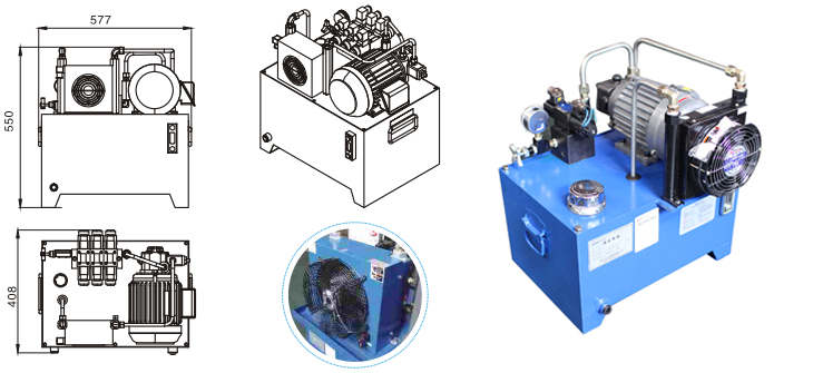 0.75KW Standard Hydraulic Power Unit Packs Drawing