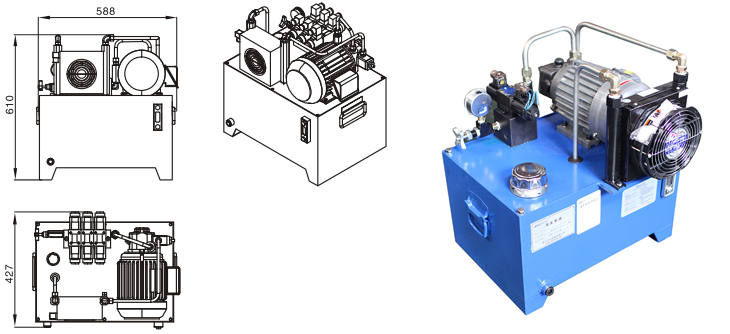 1.5KW Standard Hydraulic Power Unit Packs Drawing