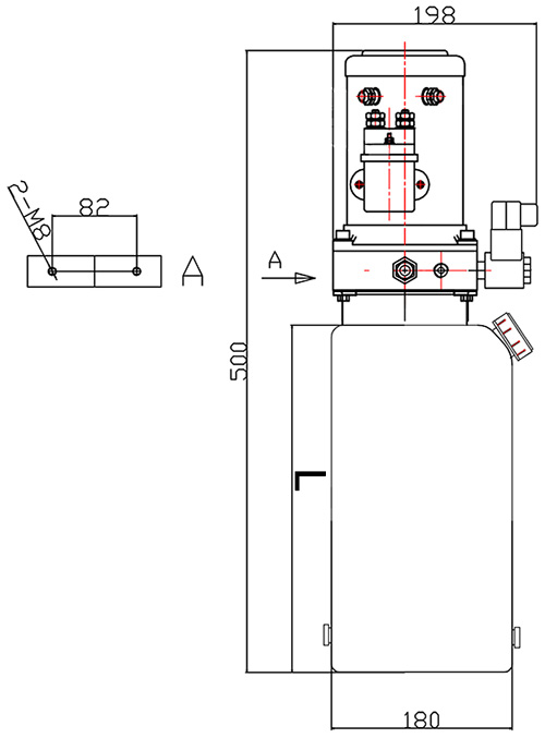 DC Mini Vertical Hydraulic Power Unit Packs Drawing