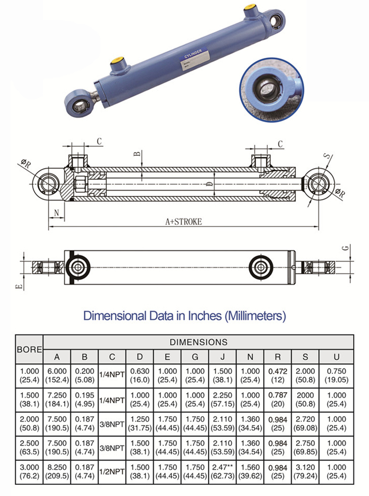 WCS Welded Hydraulic Cylinders With Swivel Mounts Drawing