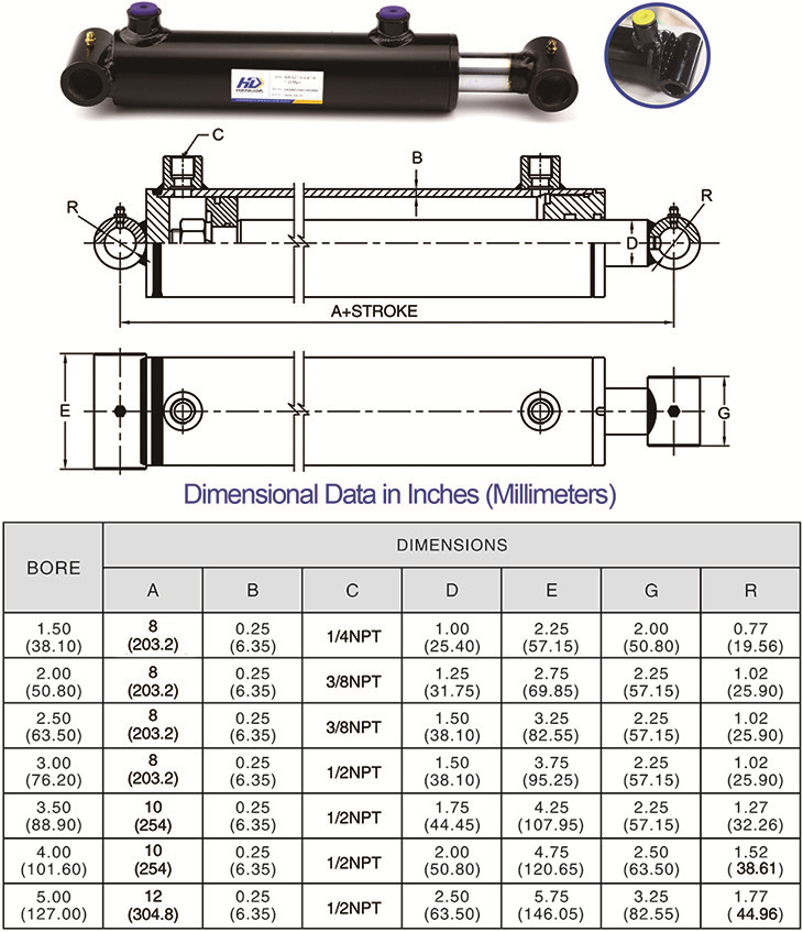 WCT Welded Hydraulic Cylinders Drawing